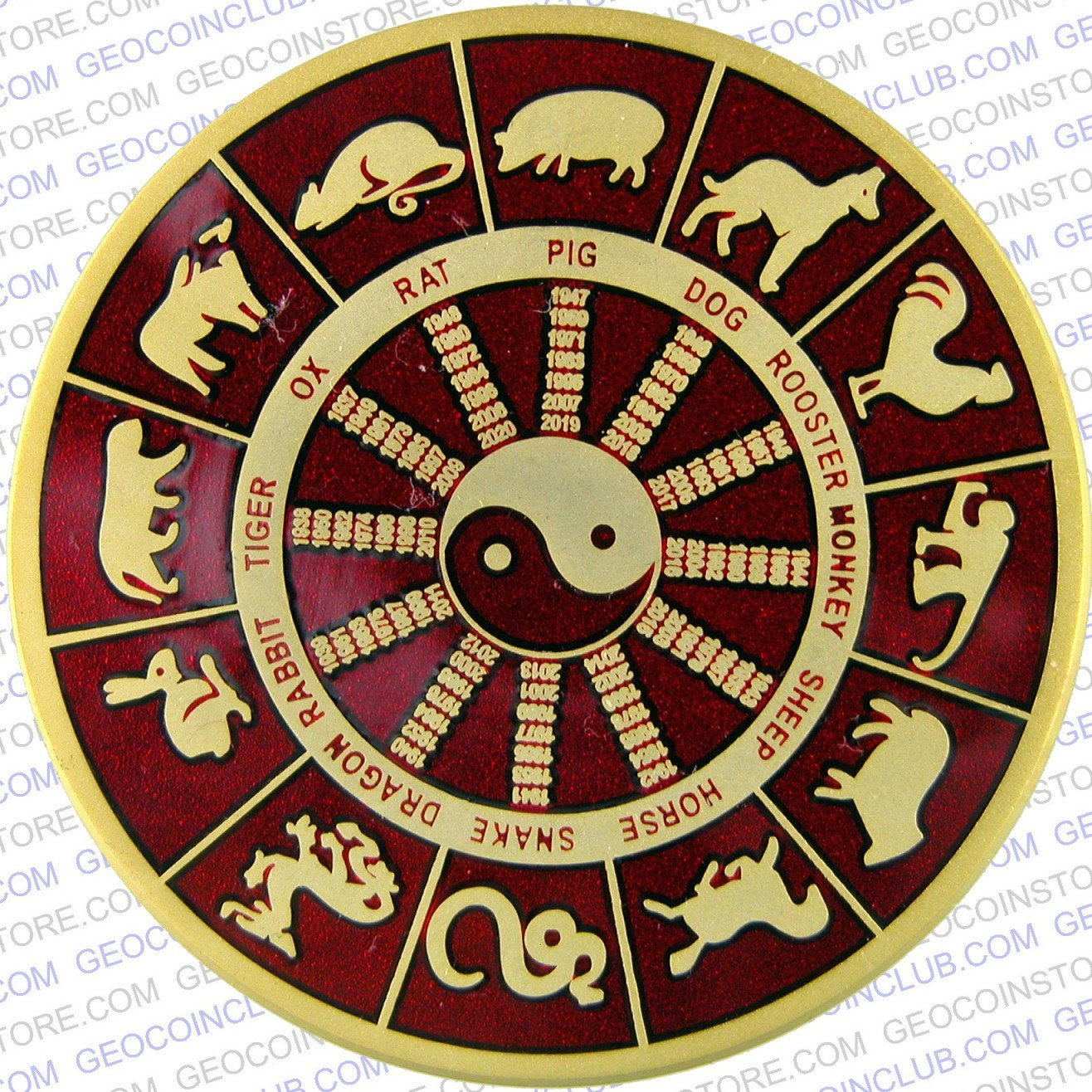 chinese zodiac tiger red serving geocaching with geocoins pathtags. Black Bedroom Furniture Sets. Home Design Ideas